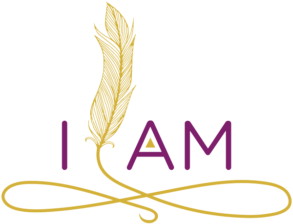 I AM, Maui logo has a transparent background with golden feather icon that floats between I and AM with an infinity sign swirl below.
