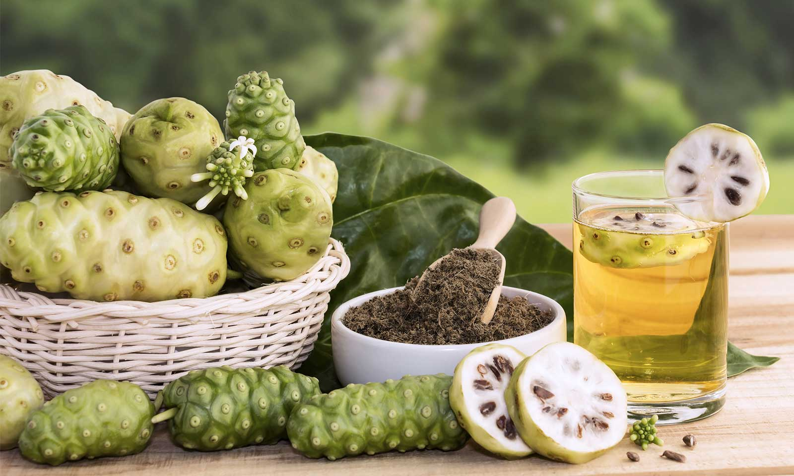 Light green Hawaiian Noni fruit in a basket with Noni leaf next to a glass of healing Noni juice at the Institute of Awareness & Movement.