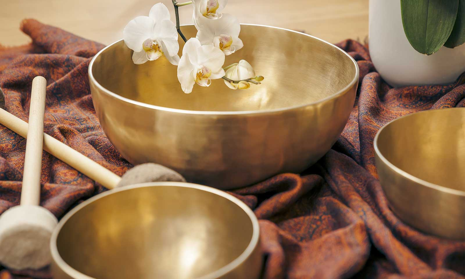 Three golden bronze sound healing Tibetan Singing bowls with a white orchid flower are set out for Sound Healing sessions at I AM, Maui.