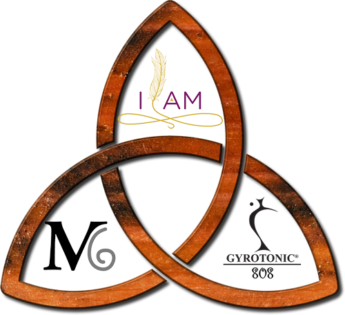 A Celtic trinity inspired graphic showing I AM, Maui - Institute of Awareness & Movement housing the logos for Mindful Movement Center Maui and Gyrotonic 808.